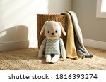 Cute Toy Dog And Basket With...