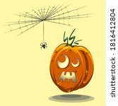 halloween pumpkin being scared... | Shutterstock .eps vector #1816412804