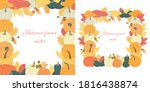 set with autumn square frames...   Shutterstock .eps vector #1816438874
