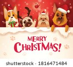 merry christmas  dogs and... | Shutterstock .eps vector #1816471484