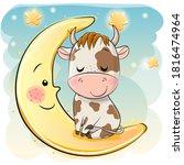 cute cartoon bull is sleeping... | Shutterstock .eps vector #1816474964