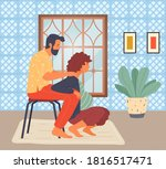 pregnant woman is squatting ... | Shutterstock .eps vector #1816517471