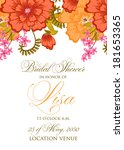 invitation or wedding card with ... | Shutterstock .eps vector #181653365