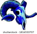 Vector Blue Goat Tattoo Skull...