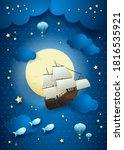 fantasy sky with flying vessel... | Shutterstock .eps vector #1816535921