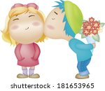man with bouquet kissing woman | Shutterstock . vector #181653965