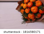 Tangerine Bunch Isolated On...