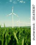 wind energy turbines on the... | Shutterstock . vector #181658387