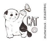 little kitten playing with... | Shutterstock .eps vector #1816609841