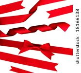 strips of red shiny ribbon and... | Shutterstock . vector #18166138