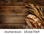 rustic bread and wheat on an...   Shutterstock . vector #181667069