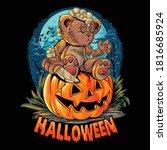 a cute halloween teddy bear... | Shutterstock .eps vector #1816685924