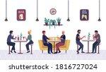 people in the bar cafe  cartoon ... | Shutterstock . vector #1816727024