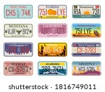 car plates. highway automobile... | Shutterstock .eps vector #1816749011