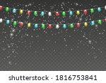 snowy night with light garlands....   Shutterstock .eps vector #1816753841