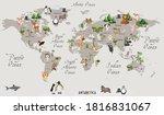 animals world map for kids... | Shutterstock . vector #1816831067