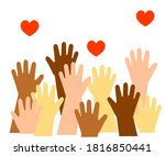 the hands of various people are ... | Shutterstock .eps vector #1816850441