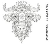 antistress coloring cow face ...   Shutterstock .eps vector #1816855787
