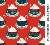 wintertime warm cozy cocoa cup...   Shutterstock .eps vector #1816859864
