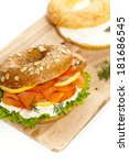 cream cheese and smoked salmon... | Shutterstock . vector #181686545