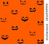 pumpkins scary smile pattern ... | Shutterstock .eps vector #1816939994