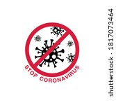 coronavirus stop sign on white... | Shutterstock .eps vector #1817073464