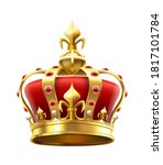 Golden Royal Crown With Jewels. ...