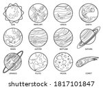 planets for color book. solar... | Shutterstock .eps vector #1817101847