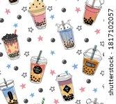 bubble tea seamless pattern.... | Shutterstock .eps vector #1817102057