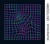 cyberpunk distorted neon grid....   Shutterstock .eps vector #1817102084