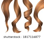 set of wavy strands of blonde... | Shutterstock .eps vector #1817116877