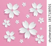 paper art cut flower vector on...