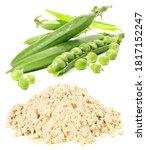 Pea Protein With Peas On White...