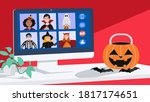 children in halloween dress... | Shutterstock .eps vector #1817174651