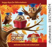 owls on tree back to school | Shutterstock .eps vector #1817196074
