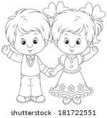 friendly smiling children... | Shutterstock .eps vector #181722551