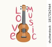 cartoon ukulele with lettering... | Shutterstock .eps vector #1817262464