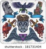 hand drawn set of old school... | Shutterstock .eps vector #181731404