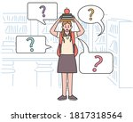 a girl is standing in the... | Shutterstock .eps vector #1817318564