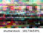 Glitch digital abstract artifacts distortion background futuristic, media design.