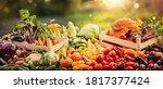 harvesting autumn. happy... | Shutterstock . vector #1817377424