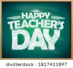 happy teacher's day green... | Shutterstock .eps vector #1817411897