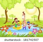 happy family splashing in pool... | Shutterstock .eps vector #181742507
