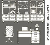 icons office furniture  | Shutterstock .eps vector #181743965