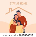 a happy family under the roof... | Shutterstock .eps vector #1817484857