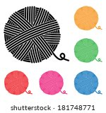 vector set of yarn ball icons | Shutterstock .eps vector #181748771