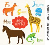 alphabet for kids with animals. ... | Shutterstock .eps vector #181748801