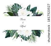 white gardenia  hibiscus  green ...   Shutterstock .eps vector #1817523527