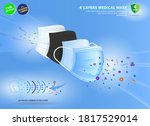 set of four layer surgical mask ... | Shutterstock .eps vector #1817529014