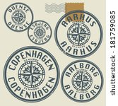 Grunge rubber stamp set with names of Denmark cities, vector illustration